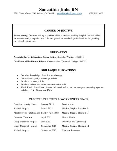 New Nursing Grad Resume Objective by New Grad Resume Current Nursing Resume