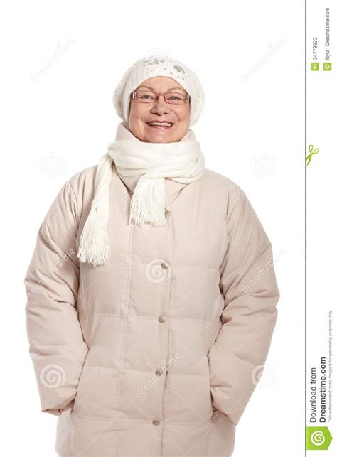 woman in winter clothing happy old woman in warm clothes stock photography image