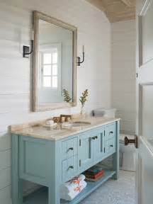 turquoise washstand with brass trim design ideas