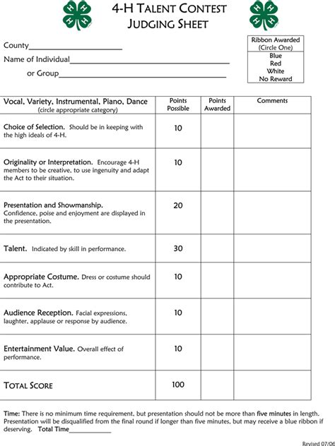 talent show criteria for judging printable talent show score sheets download in pdf