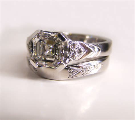 ct ethical white gold and deco wedding ring