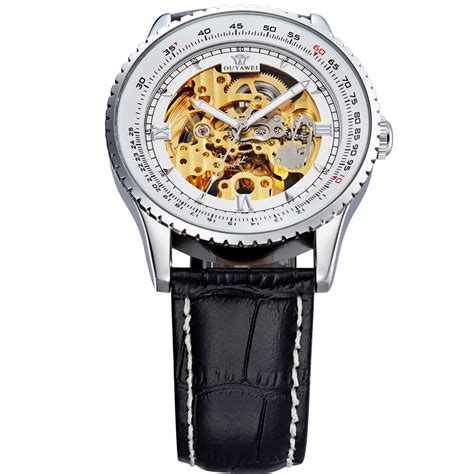 Ouyawei Skeleton Leather Automatic Mechanical Oyw1335 ouyawei skeleton leather automatic mechanical oyw1335 white silver