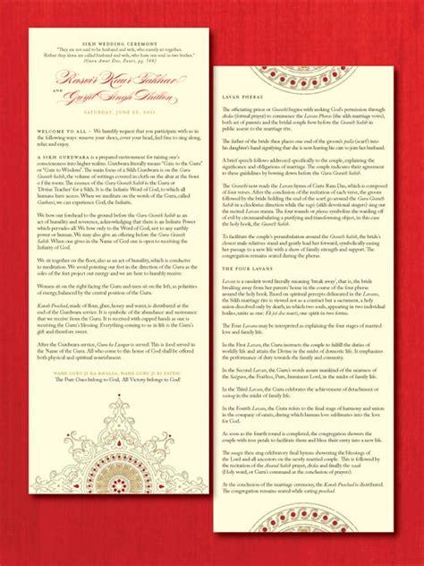 Hindu Wedding Ceremony Explanation Cards Templates by Sikh Ceremony Wedding Program Invitations
