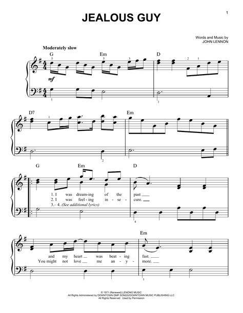Tutorial Piano Jealous Guy | jealous guy sheet music by john lennon easy piano 156743