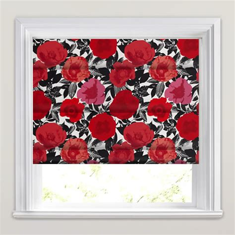 black patterned roman shades red pink black white floral pop art luxury patterned