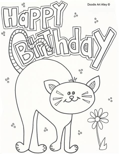 happy birthday cat coloring page pet birthday coloring pages doodle art alley