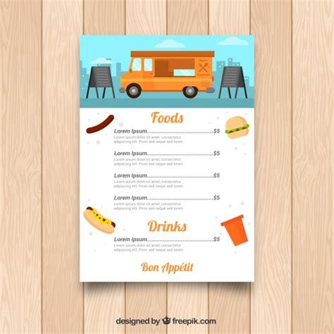 food truck menu template colorful food truck menu template vector free