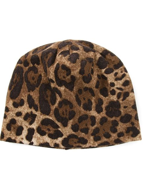 Where To Buy Hiltons Leopard Print Beanie by Dolce Gabbana Leopard Print Beanie Hat In Brown Lyst