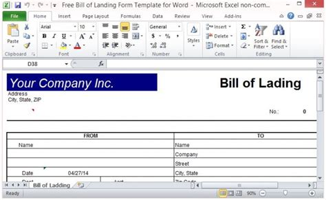 Free Bill Of Lading Form Template For Excel Free Bill Of Lading Template Excel
