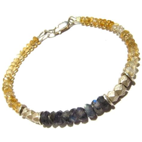 Bangle Claw Color T5c6d8 citrine and labradorite bracelet with sterling silver lobster claw of paradise