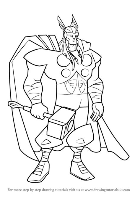printable heroes tutorial learn how to draw thor from the avengers earth s