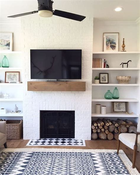 fireplace with shelves i this simple fireplace mantle and shelves