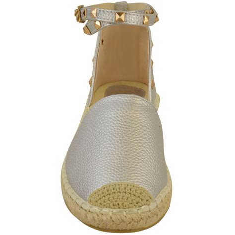 studded flat shoes womens espadrilles ankle strappy flat summer