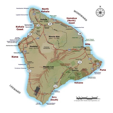map of hawaii and usa detailed map of big island of hawaii with roads cities