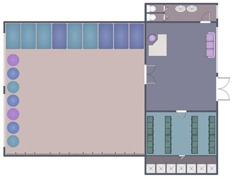 dance floor plan gym and spa area plans solution conceptdraw com