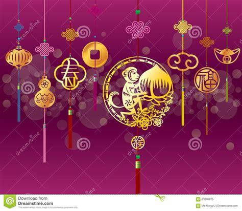 new year monkey decor cny monkey background with golden decoration stock vector