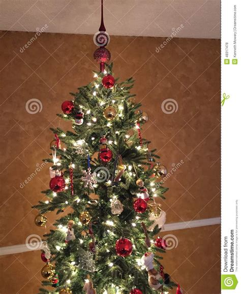 christmas tree light timer christmas tree with lights and ornaments stock photo