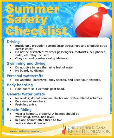 Some Tips For Summer by Summer Safety Checklist Information To