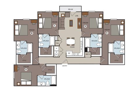 5 Bedroom Apartment by Student Floor Plan