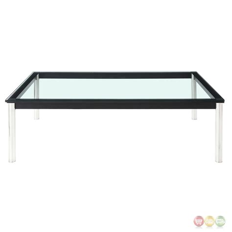 rectangle with glass top charles modern 47 quot rectangle glass top w