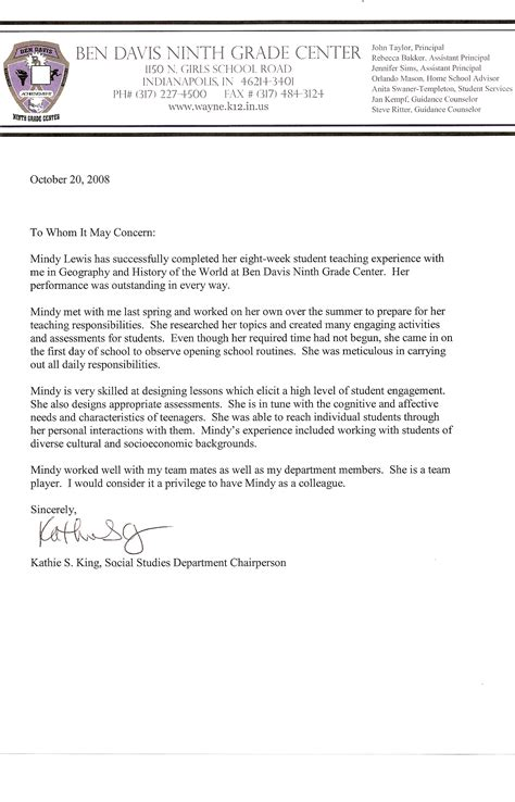 Reference Letter For Student From Lecturer letter of recommendation for the year from student