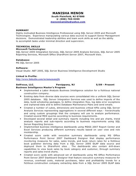 Sql Server Resume Sample by Manisha Bi Resume