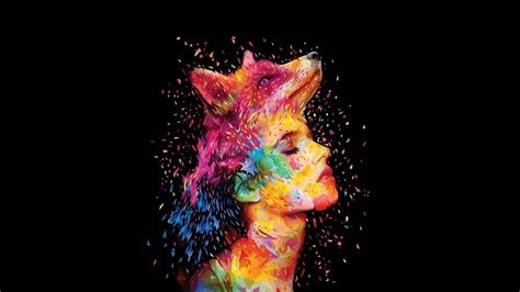 colorful closed eyes wolf head women face full hd wallpaper