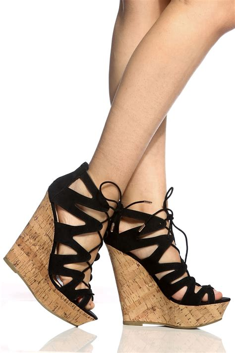 Booth Wedges black faux suede cut out lace up cork wedges cicihot