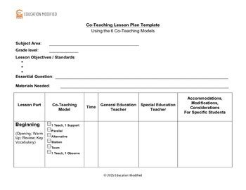 Co Teaching Lesson Plan Template Customizable Tpt Co Teaching Planning Template
