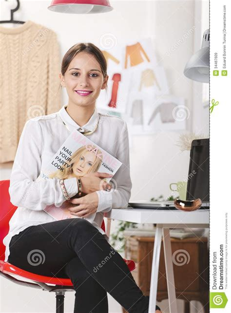 Office Magazine by Fashion Magazine Editor In Office Stock Image Image