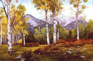 Gallery of paintings by pat landscape tranquil meadow in fall