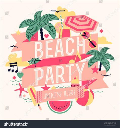 beautiful beach party design element palms stock vector 284337530 shutterstock