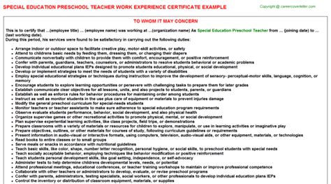 Work Experience Certificate For Lecturer Special Education Preschool Work Experience Certificate