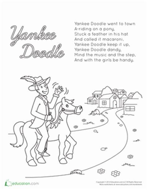 Yankee Doodle Lyrics   Coloring Page   Education.com