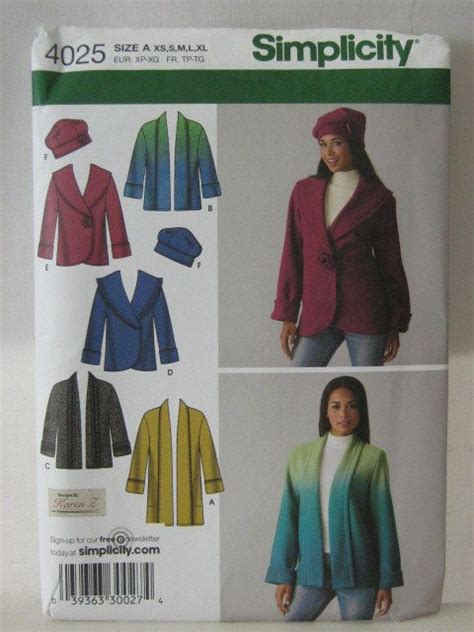 Jaket Flace Dc jacket pattern fleece jacket hat pattern simplicity 4025