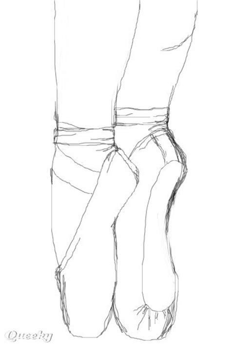 pointe shoes sketch  black white speedpaint drawing