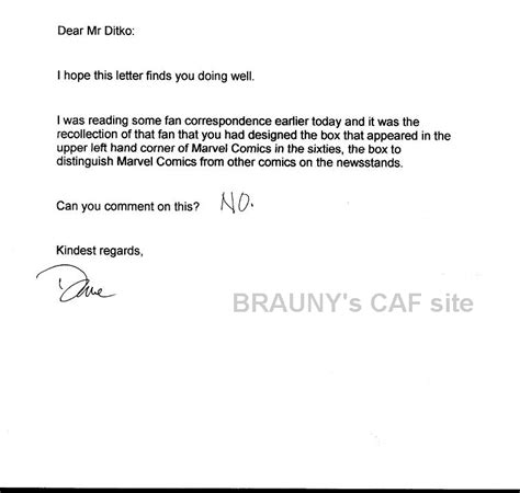 Rejection Letter Sponsorship Sle Ditko Rejection Letter 3 In Brauny S Ditko Steve Comic Gallery Room