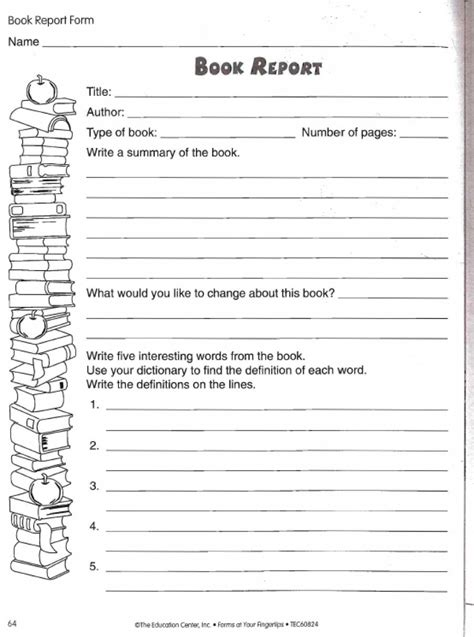 book report worksheet 5th grade book report worksheet
