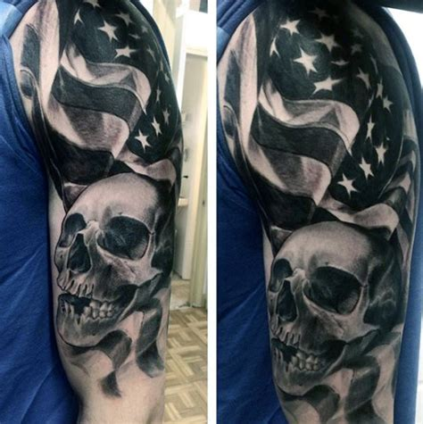 black and gray american flag tattoo top 60 best american flag tattoos for usa designs