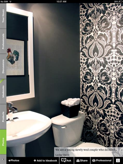 pinterest wallpaper accent wall black and white wallpaper in a powder room decorating