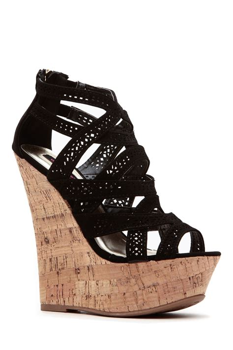 8 Fab 2 In 1 Shoos by Black Laser Cut Ahead Cork Wedges Cicihot Wedges