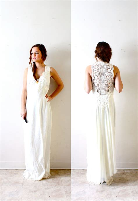 Vintage Hippie Wedding Dresses by Vintage Bohemian Hippie All Lace Back Wedding Dress