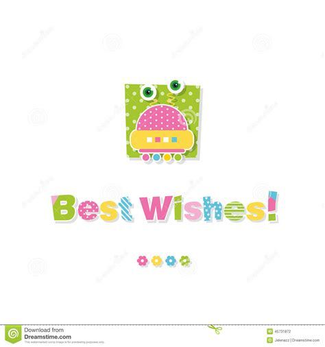 cute baby robot best wishes greeting card stock vector