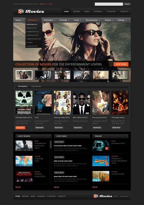 film online website movie website template 39510