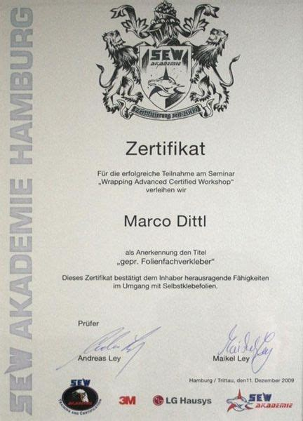 Autofolierung Zertifikat by Autofolierung Chemnitz Marco Dittl Highlights