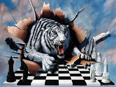 Kaos 3d White Tiger white bengal tyger white tiger busting thru wallpaper of chess background