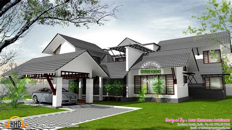 kerala sloped roof home design sloped roof home with skylight courtyard kerala home