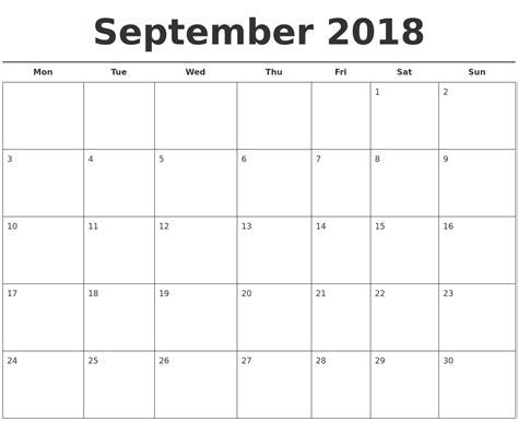 September 2018 Free Calendar Template 2018 Free Calendar Template