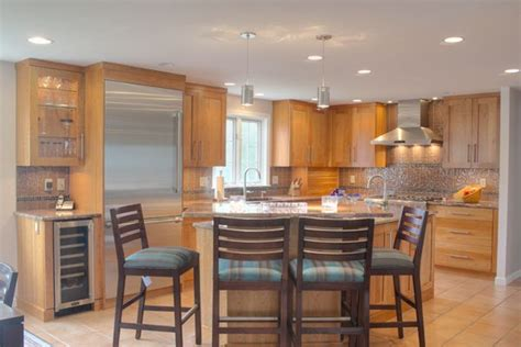 multi wood kitchen cabinets natural cherry wood kitchens multi level island design