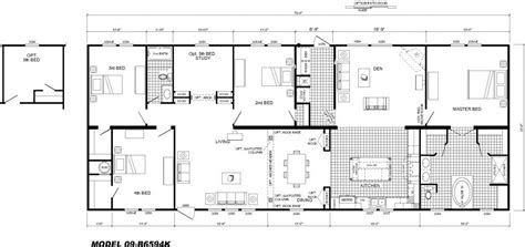 four bedroom floor plan 4 bedroom floor plan b 6594 hawks homes manufactured